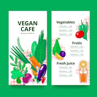 Menu del ristorante per vegani o vegetariani.