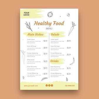 Menu del ristorante sano