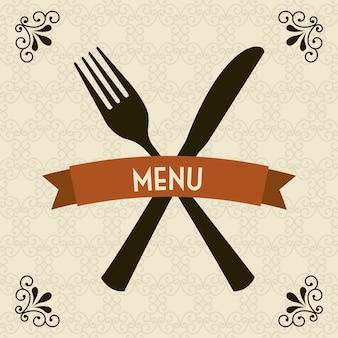Menu del ristorante sopra l'illustrazione di vettore del fondo degli ornamenti
