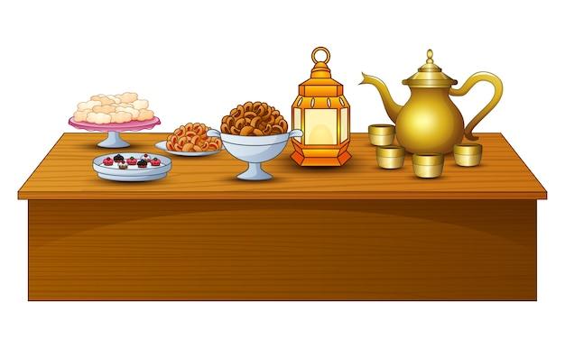 Menu delizioso per iftar party sul tavolo con lanterna e teiera d'oro