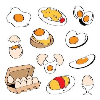 Menu dell'uovo di stili di disegno a mano