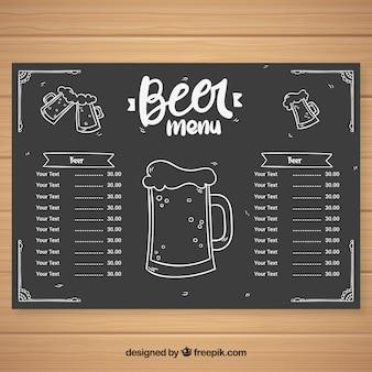Menu della birra in stile gesso