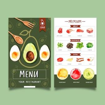 Menu della giornata mondiale dell'alimento con avocado, carne, illustrazioni ad acquerello di verdure.