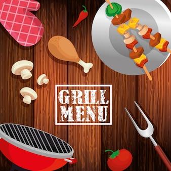 Menu della griglia con cibo delizioso in fondo in legno