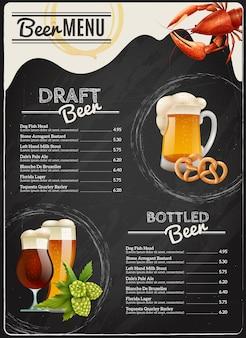 Menu della lavagna di birra