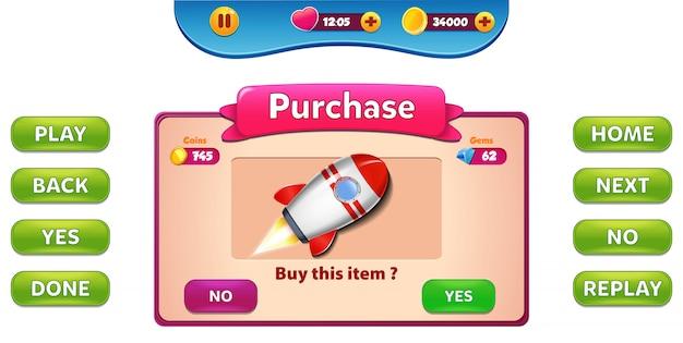 Menu di acquisto e acquisto pop-up con punteggio stelle e interfaccia grafica dei pulsanti