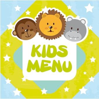 Menu di bambini animali sopra illustrazione vettoriale sfondo blu