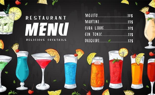 Menu di bevande cocktail