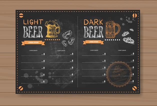 Menu di birra design per ristorante cafe pub col gesso