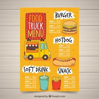 Menu di camion di alimenti disegnati a mano con fast food