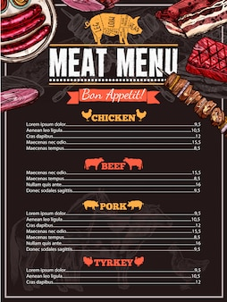 Menu di carne disegnata a mano
