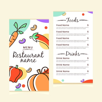 Menu di cibo del ristorante di verdure colorate