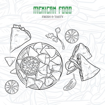 Menu di cibo messicano disegnato a mano