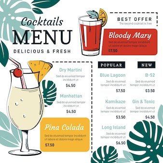 Menu di cocktail colorati con illustrazioni