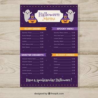Menu di halloween con fantasmi e zucche