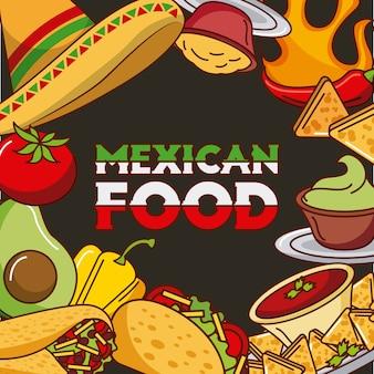 Menu di ingredienti di carta di cibo messicano diverso