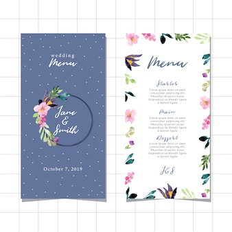 Menu di nozze con una bella cornice floreale dell'acquerello