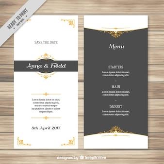 Menu di nozze elegante con dettagli dorati