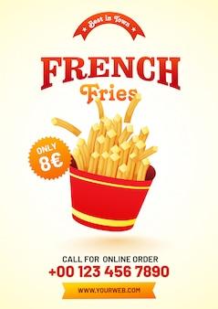 Menu di patatine fritte per ristorante e caffetteria.
