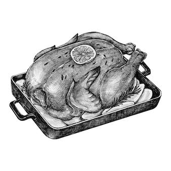 Menu di pollo arrosto disegnato a mano