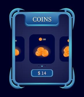 Menu di ricarica del negozio di monete gui fantasy per gli elementi dell'interfaccia utente del gioco