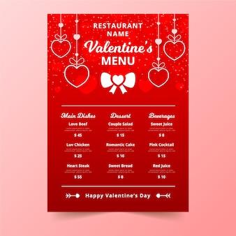 Menu di san valentino con pendenti deliziosi cuori