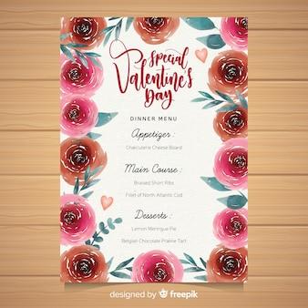 Menu di san valentino floreale dell'acquerello