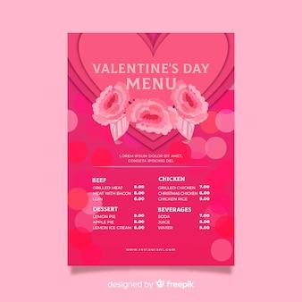 Menu di san valentino rose