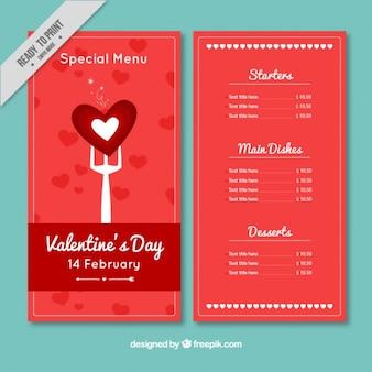 Menù di san valentino speciale in colore rosso
