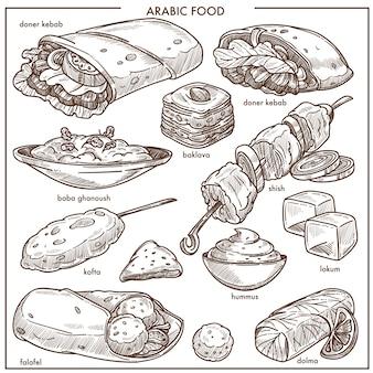 Menu di schizzo di vettore di piatti tradizionali di cucina araba di cibo
