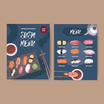 Menu di sushi per ristorante.