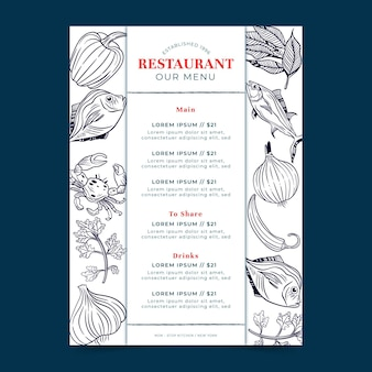 Menu digitale per ristorante in formato verticale