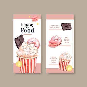 Menu e volantino con concept design della giornata mondiale dell'alimentazione per ristorante e volantino acquerello