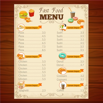 Menu fast food