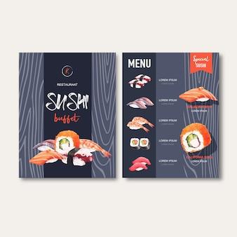Menu fisso di sushi per ristorante.