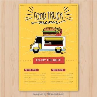 Menu hamburger disegnato a mano del camion di alimenti
