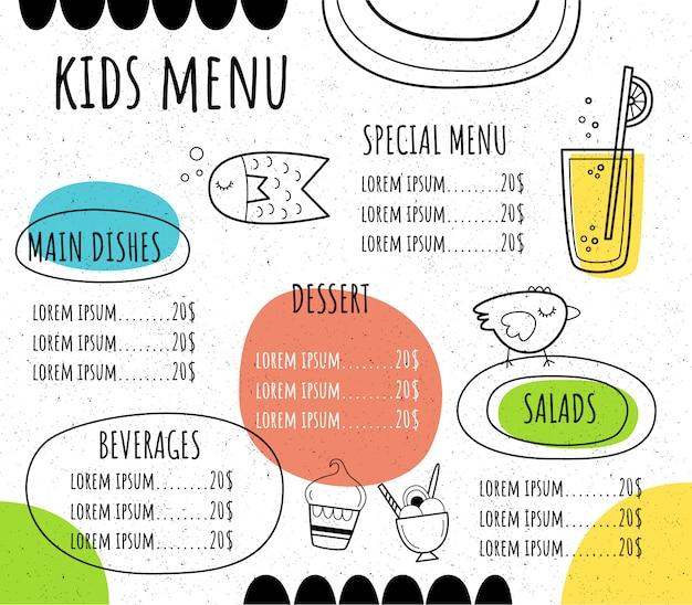 Menu per bambini in uno stile disegnato a mano.