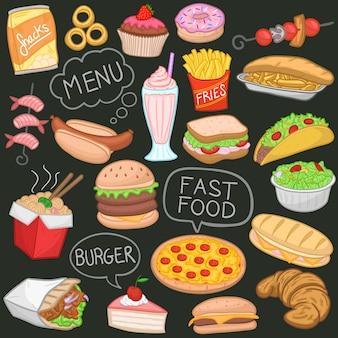 Menu per fast food menu take away desserts