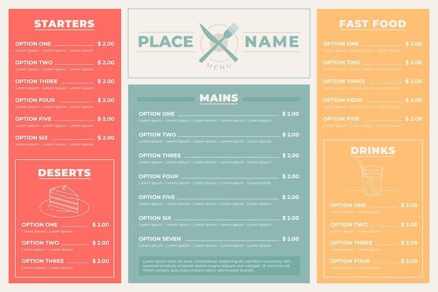 Menu ristorante minimalista in formato orizzontale per piattaforma digitale