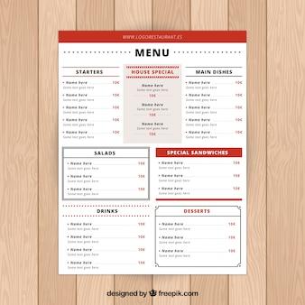Menu ristorante rosso con molte sezioni
