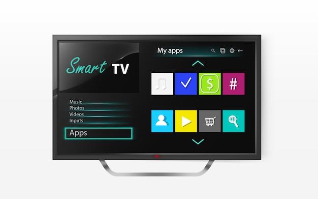 Menù smart tv sullo schermo lcd. mock up della televisione al plasma con programma