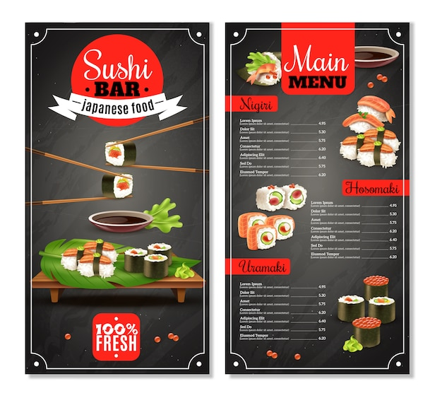 Menu sushi bar