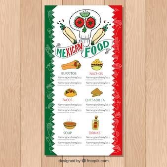 Menu tipico di cibo messicano