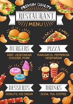 Menu variopinto del fast food con i dessert e le bevande della pizza degli hamburger sull'illustrazione nera del fondo