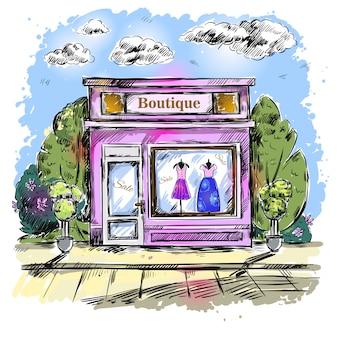 Mercato abbigliamento boutique composizione all'aperto