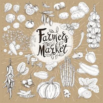Mercato degli agricoltori, design del logo organico, negozio di alimenti sani.