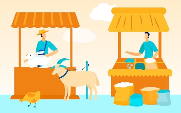 Mercato degli agricoltori gli agricoltori vendono prodotti. .