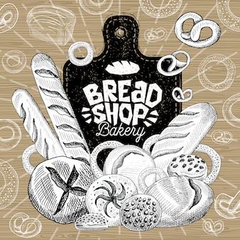 Mercato della panetteria, logo design, negozio di alimenti sani. panetteria, pane, baguette, bagel, focaccia, pagnotta, prodotti da forno, pane, cottura al forno. nutrizione corretta. disegnato a mano