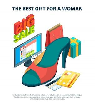 Mercato delle scarpe. illustrazione 3d dell'immagine isometrica surdimensionata dei sandali degli stivali del piede dell'abbigliamento casual maschio e femminile