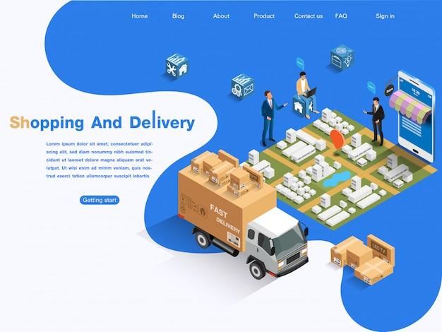 Mercato e-commerce, shopping e consegna online. concetto isometrico